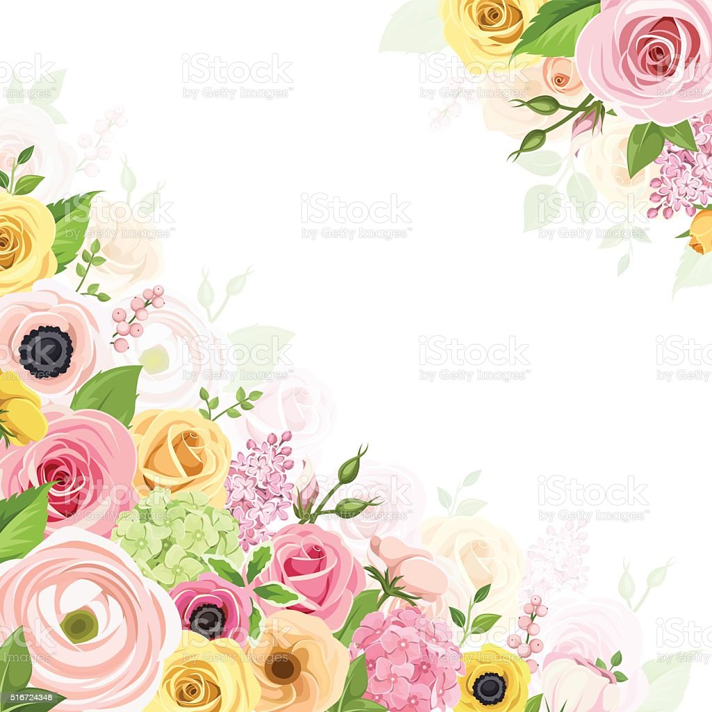 Background with pink, orange and yellow flowers. Vector illustration. vector art illustration