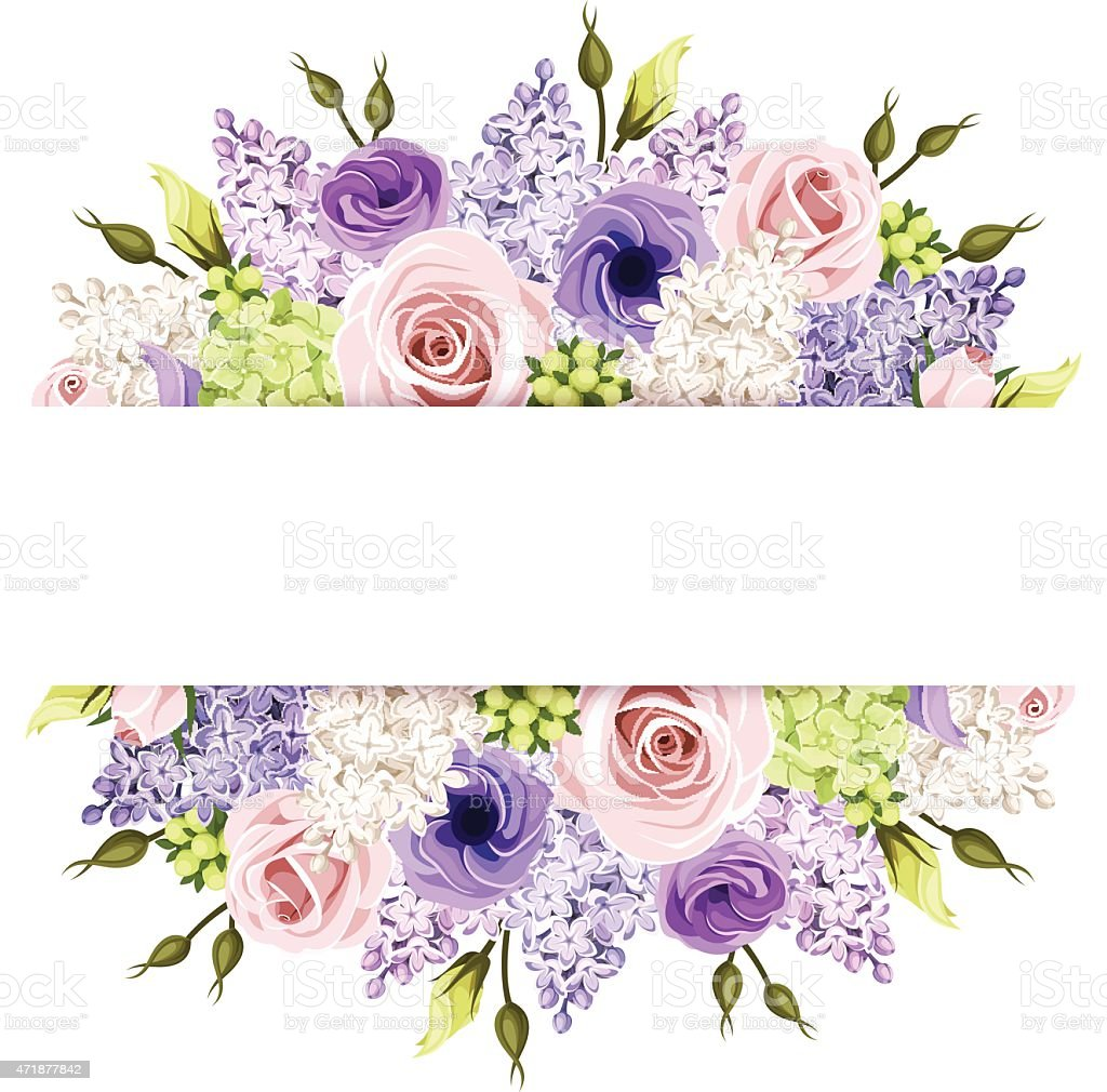 Background with pink, purple and white roses and lilac flowers. Vector. vector art illustration