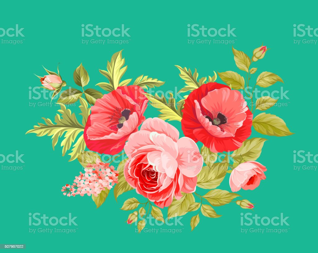 Background with poppies vector art illustration