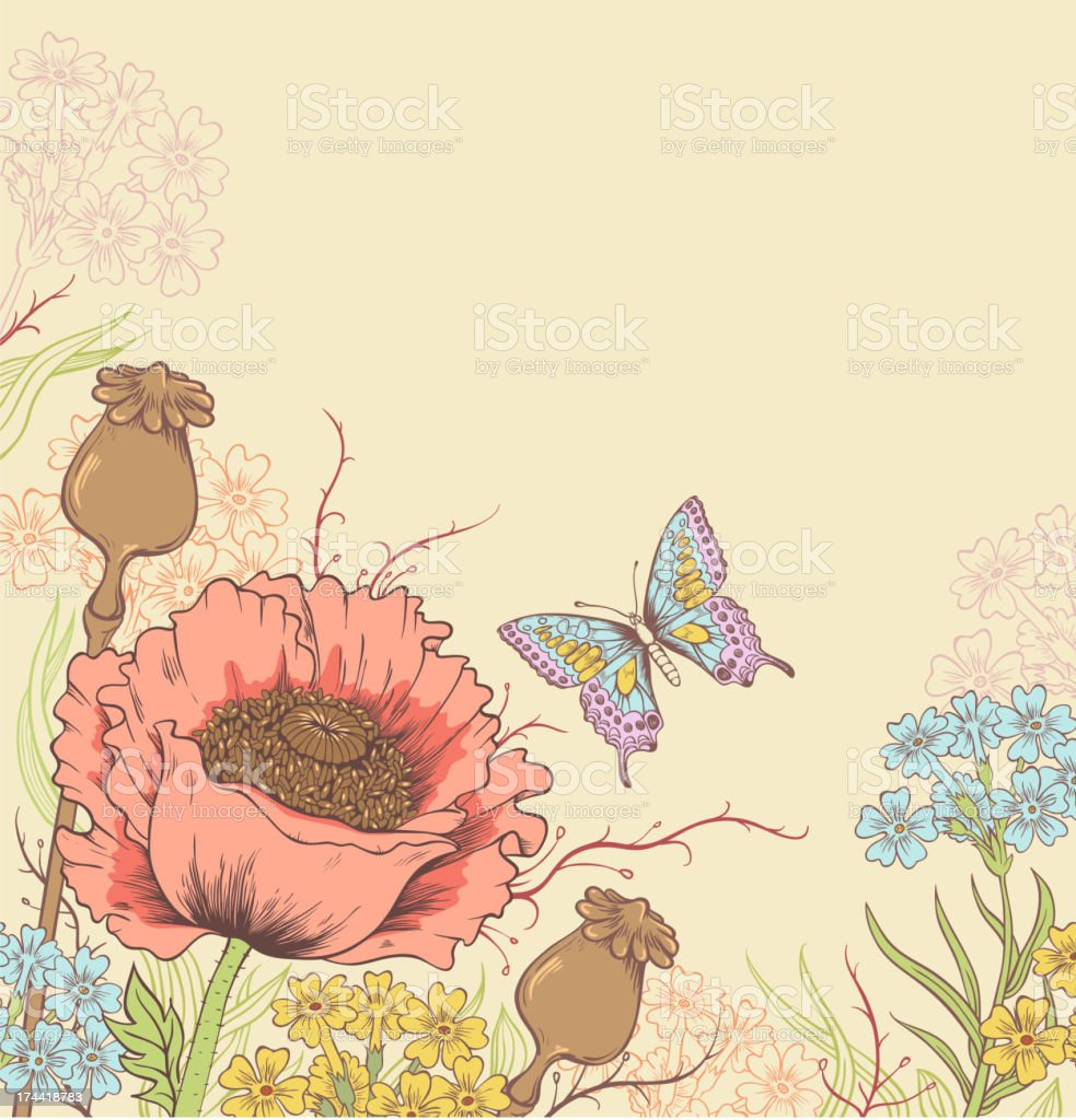 Background with poppy vector art illustration
