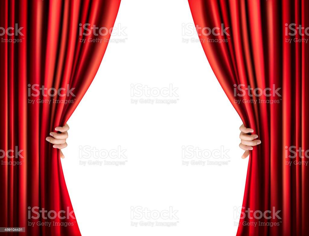 Background with red velvet curtain vector art illustration