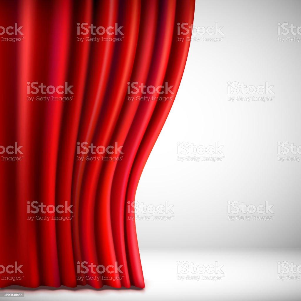 Background with red velvet curtain. Vector illustration. vector art illustration