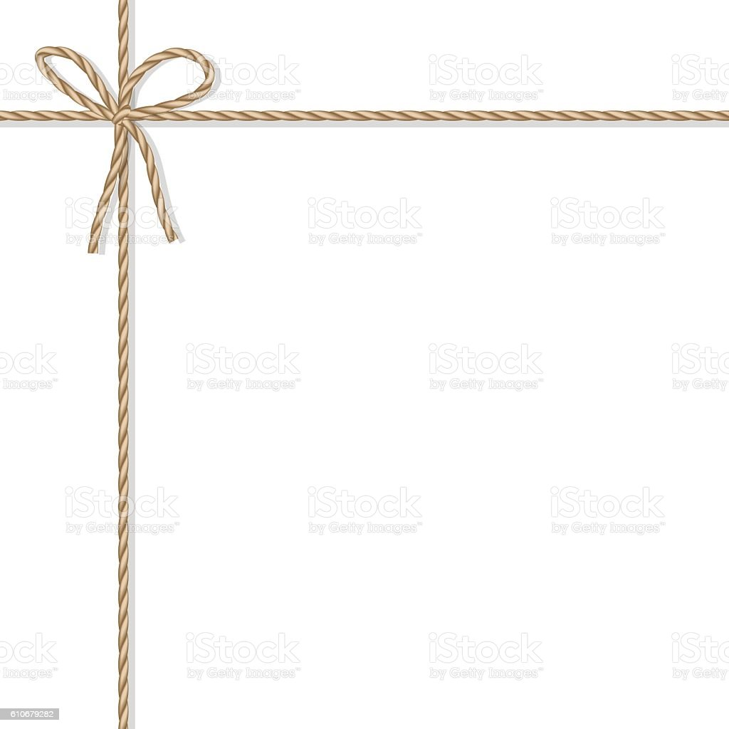 Background with rope bow and ribbons vector art illustration