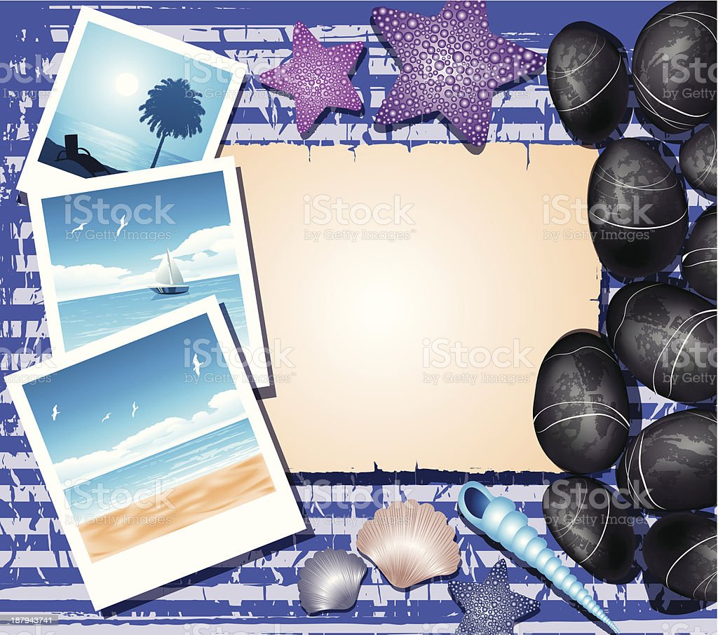 Background with shells, photos and place for text royalty-free stock vector art