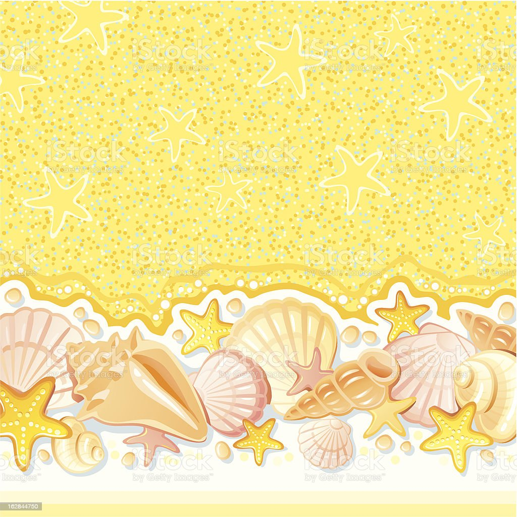 Background with shells vector art illustration