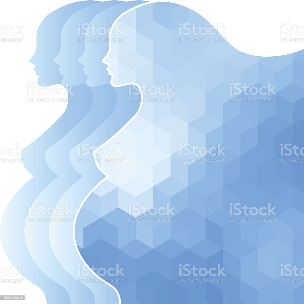 Background with silhouette of pregnant woman. royalty-free stock vector art
