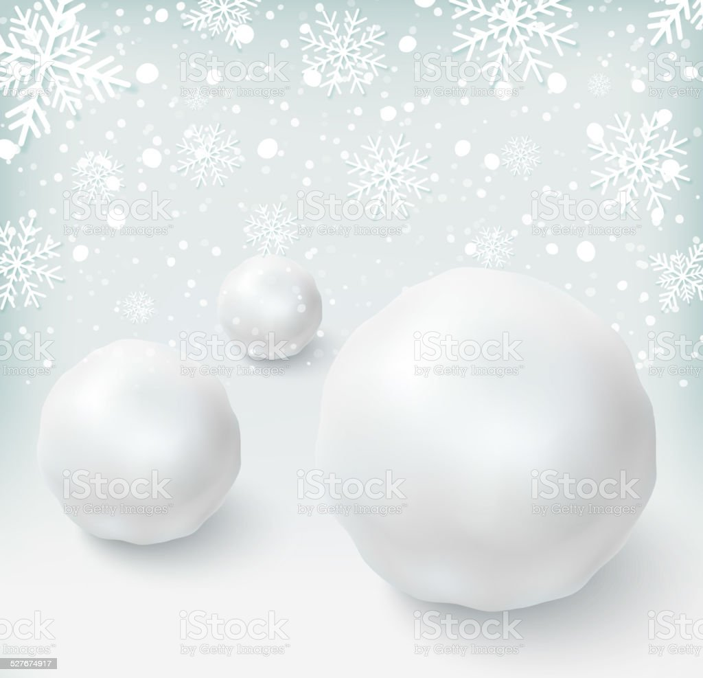 Background with snowballs and snow vector art illustration
