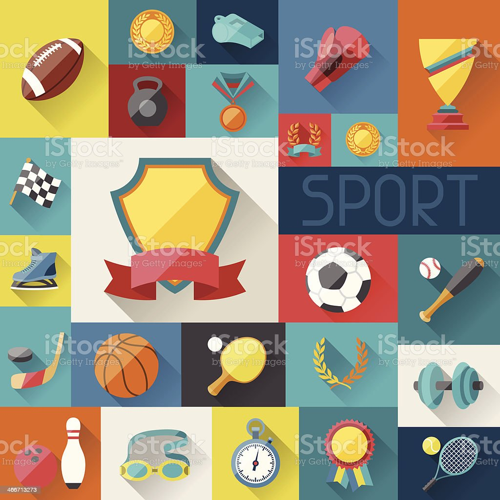 Background with sport icons in flat design style. vector art illustration