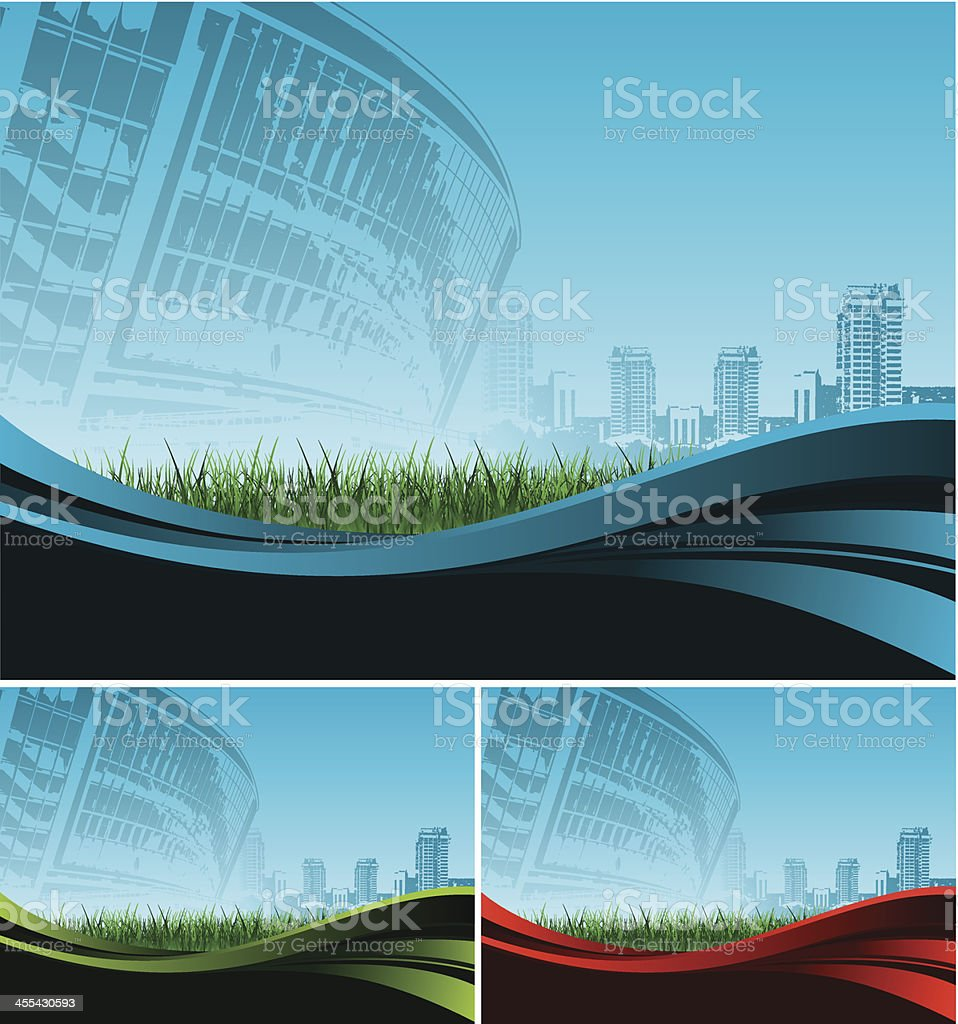 background with stadium against big city royalty-free stock vector art