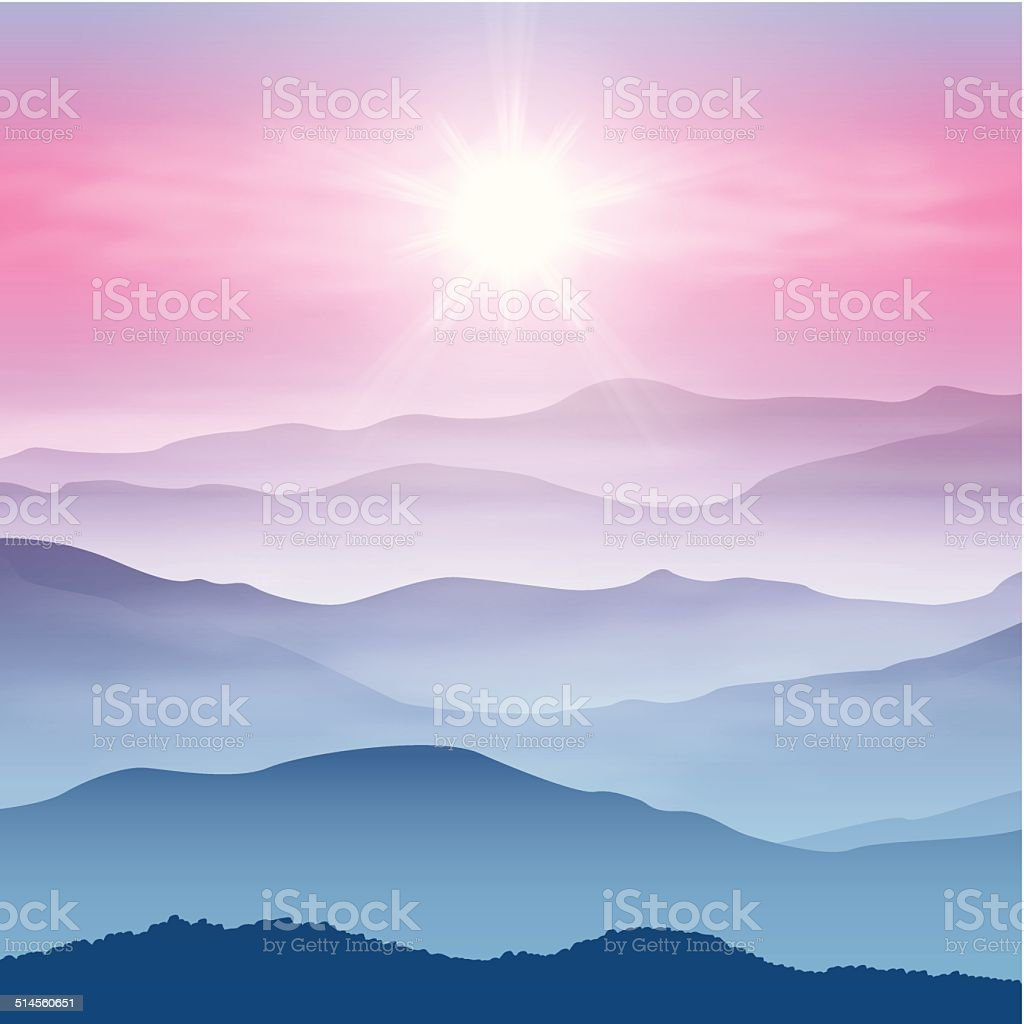 Background with sun and mountains in the fog vector art illustration