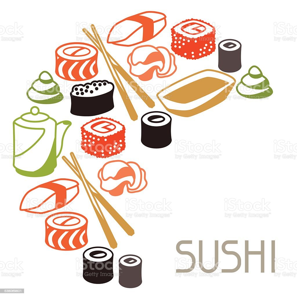 Background with sushi vector art illustration