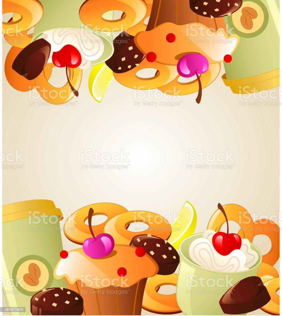 Background with sweet cakes royalty-free stock vector art