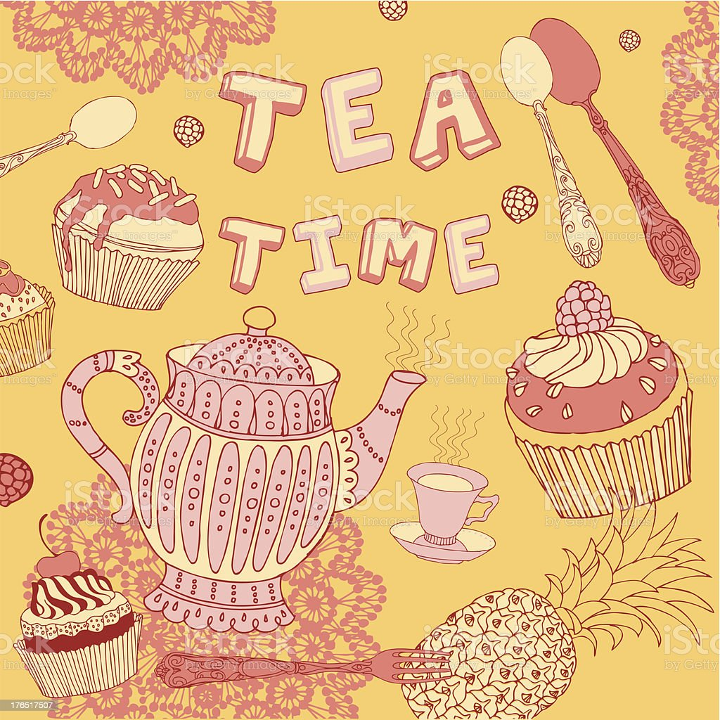 Background with tea and sweets. royalty-free stock vector art