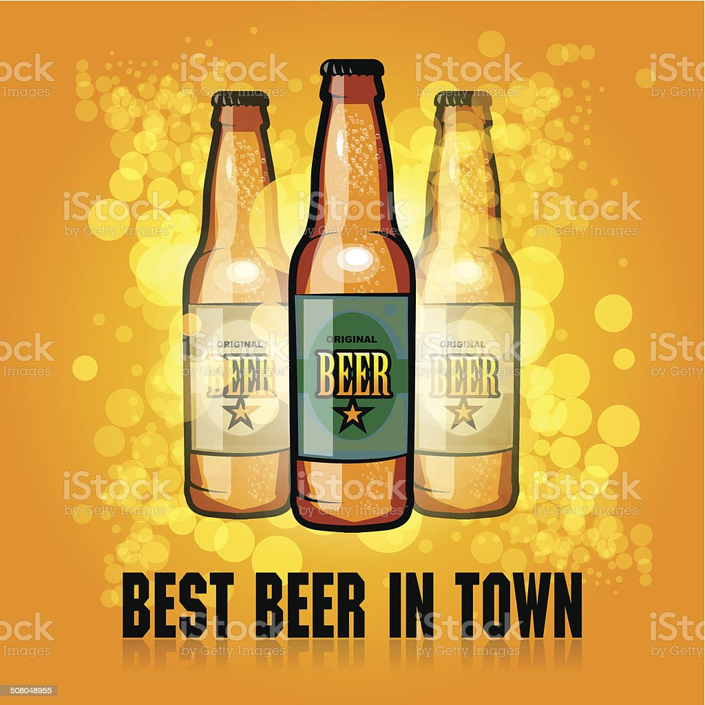 Background with the beer bottle vector art illustration