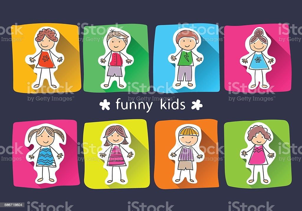 background with the image of laughing children royalty-free stock vector art