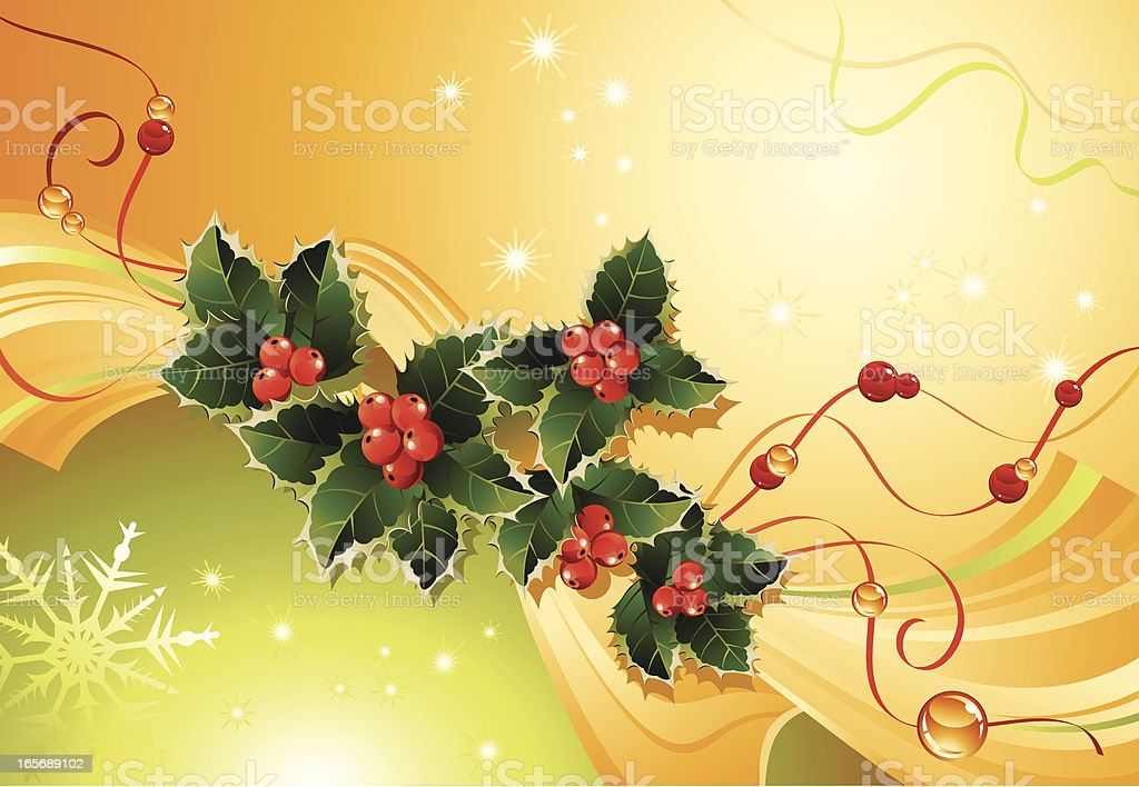 Background with the leaves of holly royalty-free stock vector art