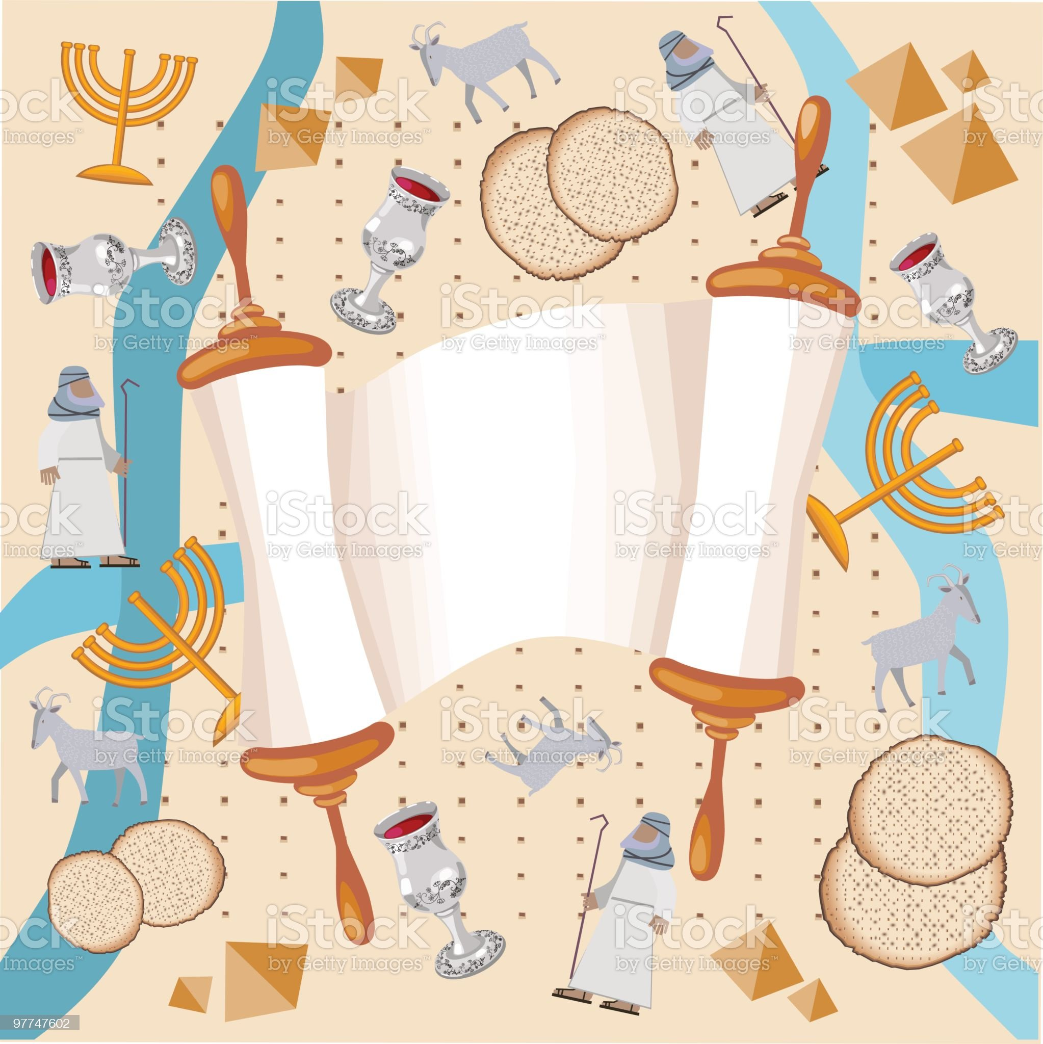 Background With Torah And Symbols Of Passover, Exodus royalty-free stock vector art