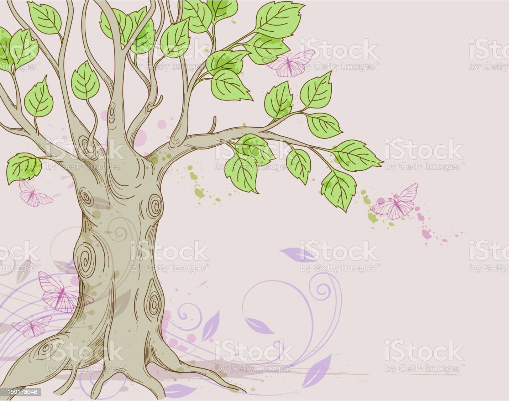 Background with tree royalty-free stock vector art