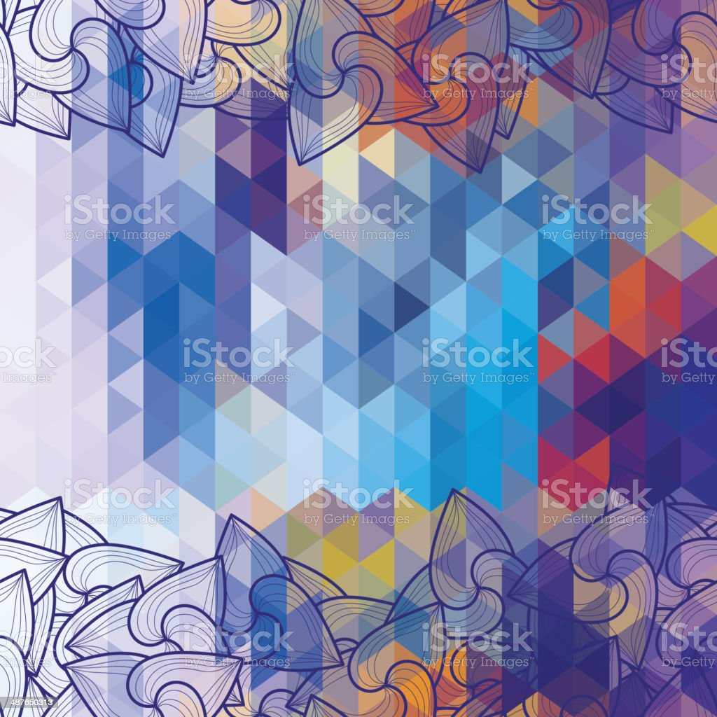 Background with triangles and hand-drawn ornament royalty-free stock vector art