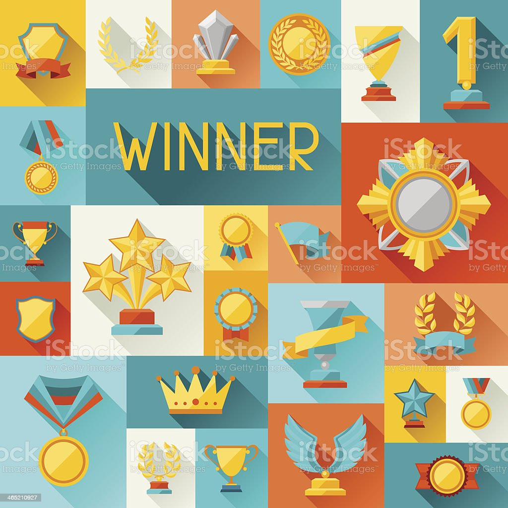 Background with trophy and awards in flat design style. vector art illustration