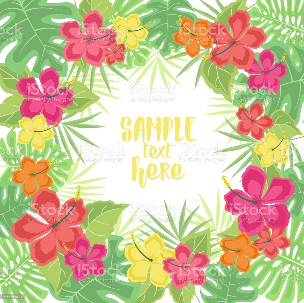 Background with tropical flowers vector art illustration