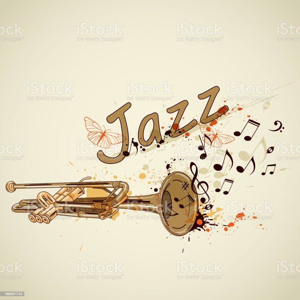 Background with trumpet and notes royalty-free stock vector art