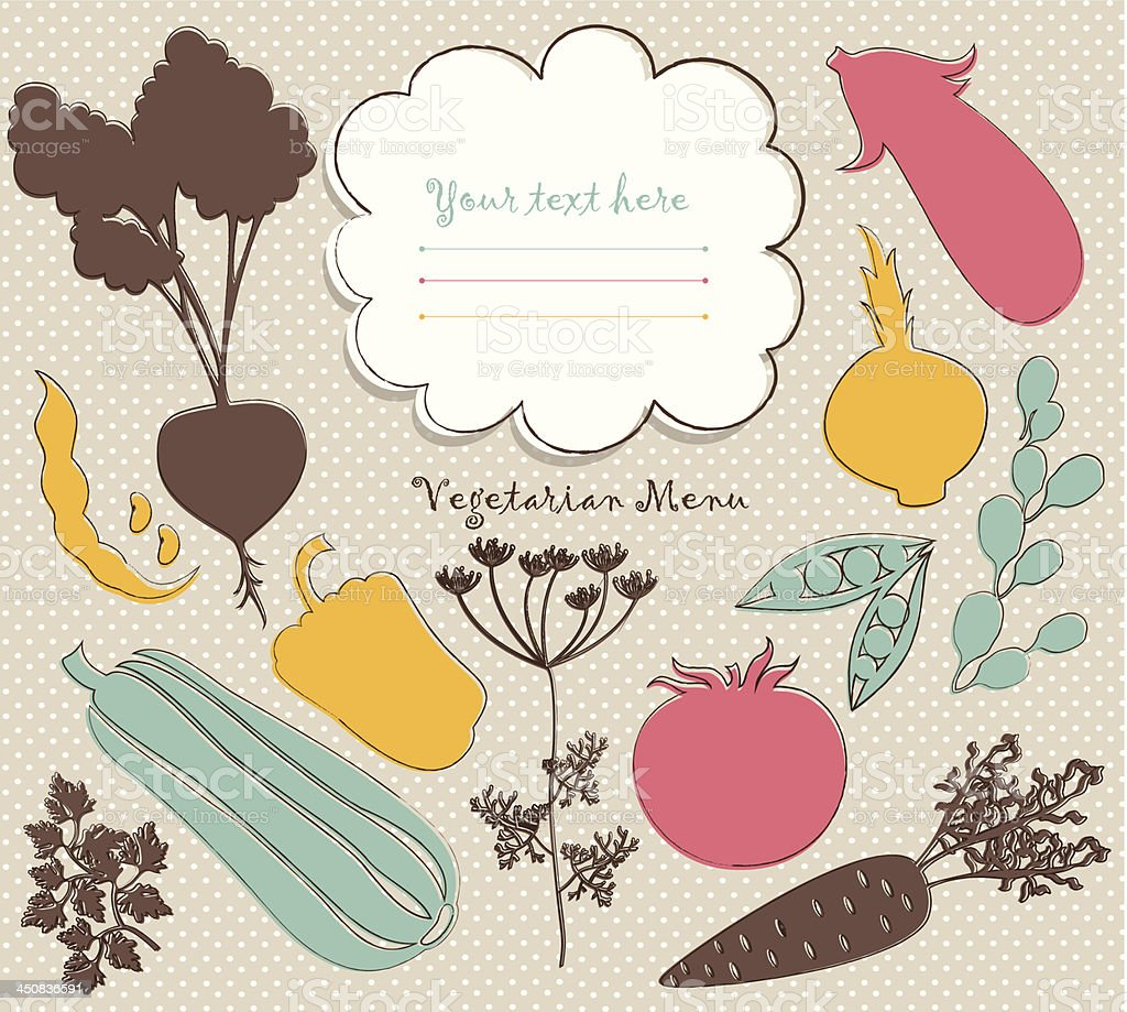 background with vegetables silhouettes and  decorative outlines vector art illustration