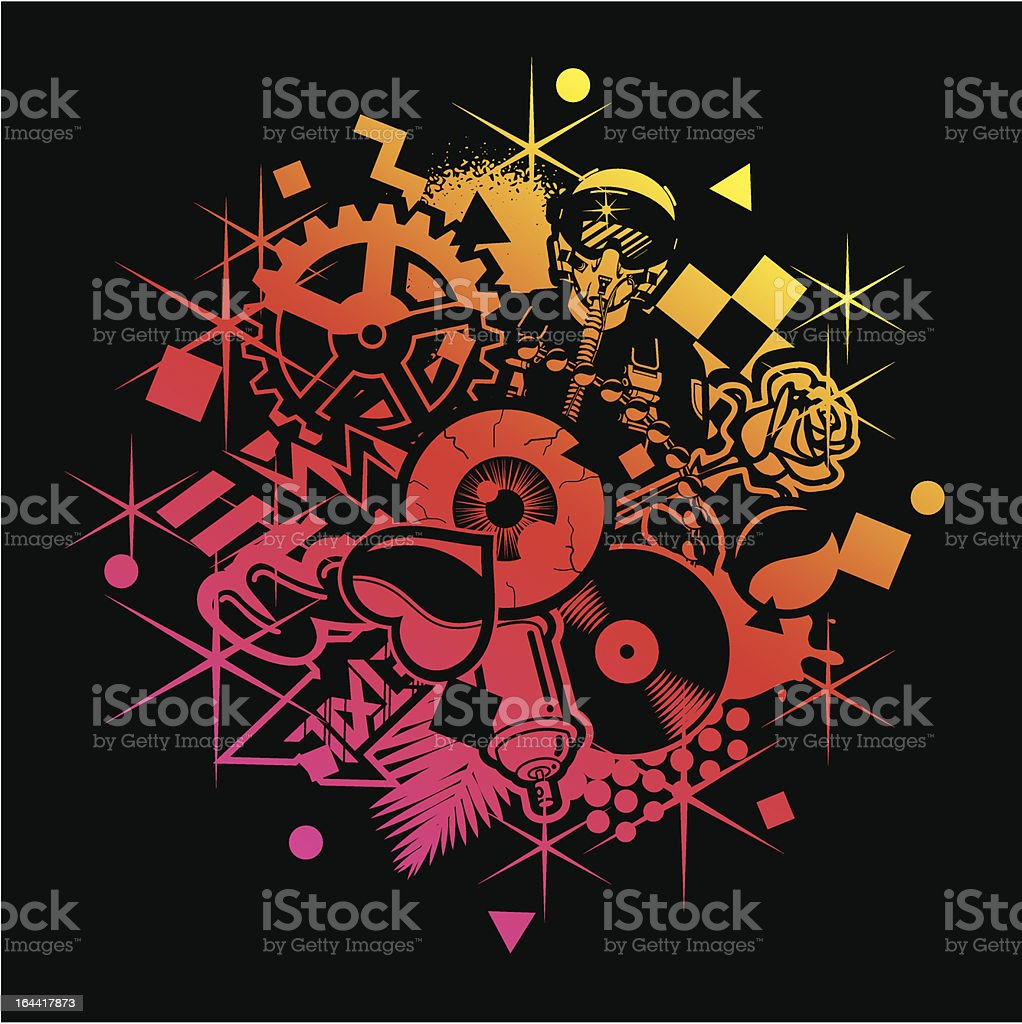 Background With Vinyl, Rose, Pilot royalty-free stock vector art