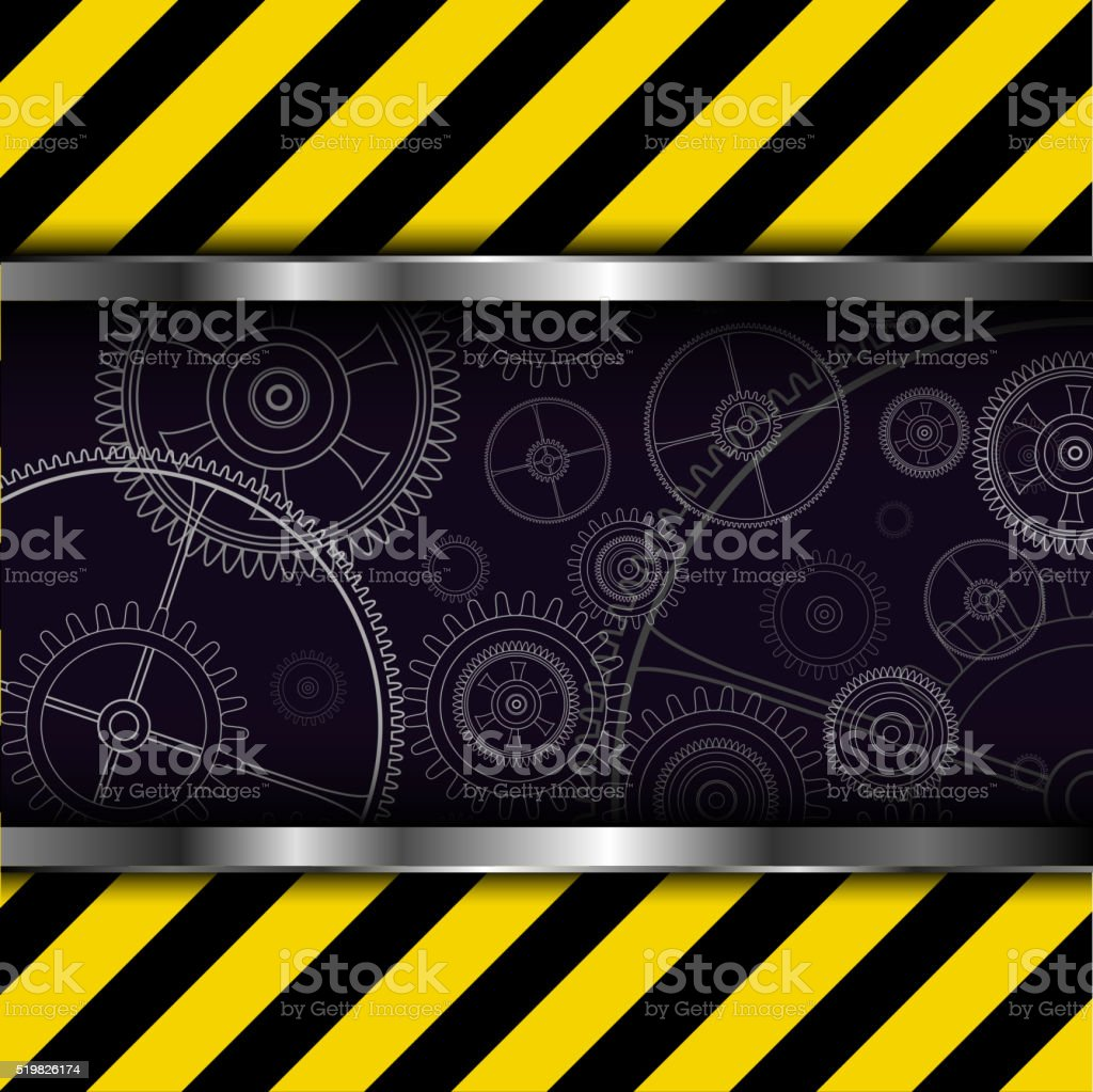 Background with warning stripes vector art illustration