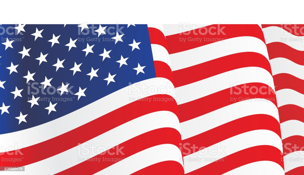 Background with waving American Flag. Vector vector art illustration