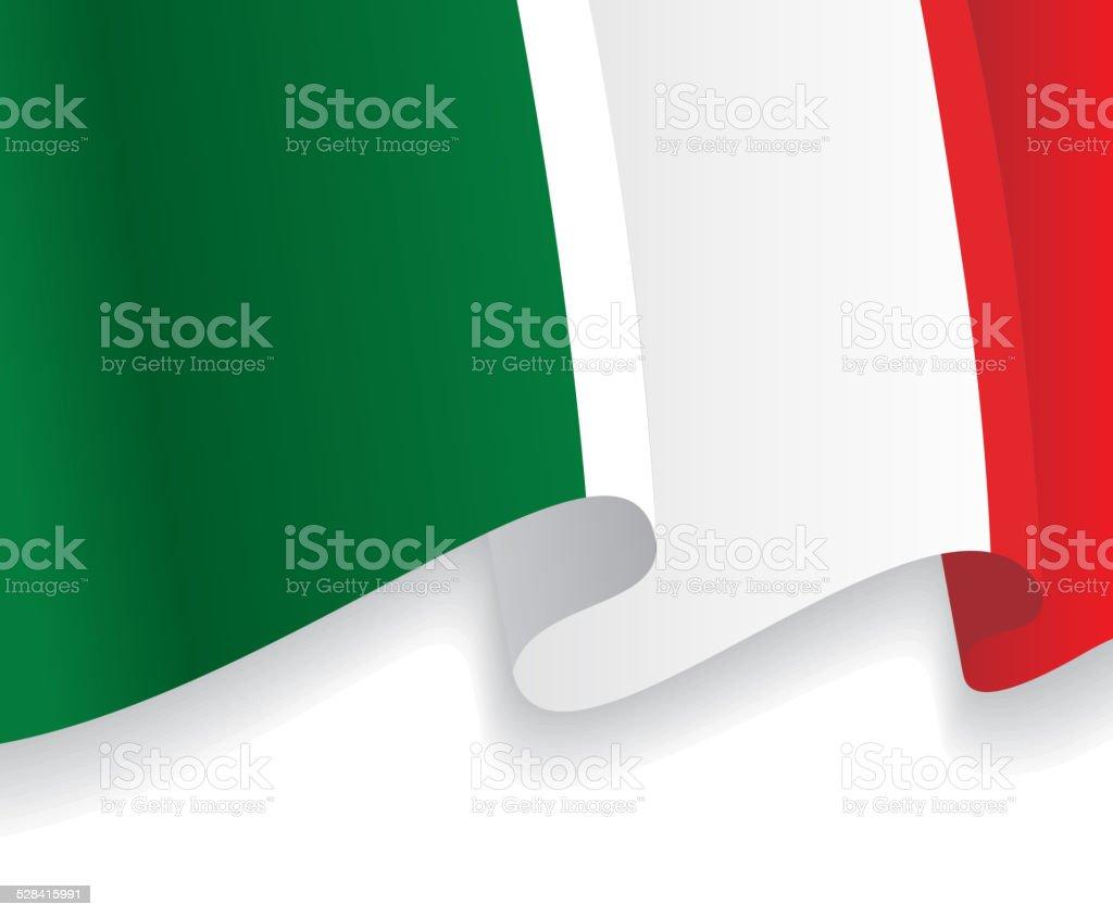 Background with waving Italian Flag. Vector vector art illustration