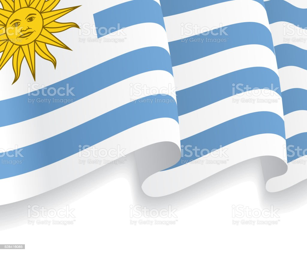 Background with waving Uruguayan Flag. Vector vector art illustration