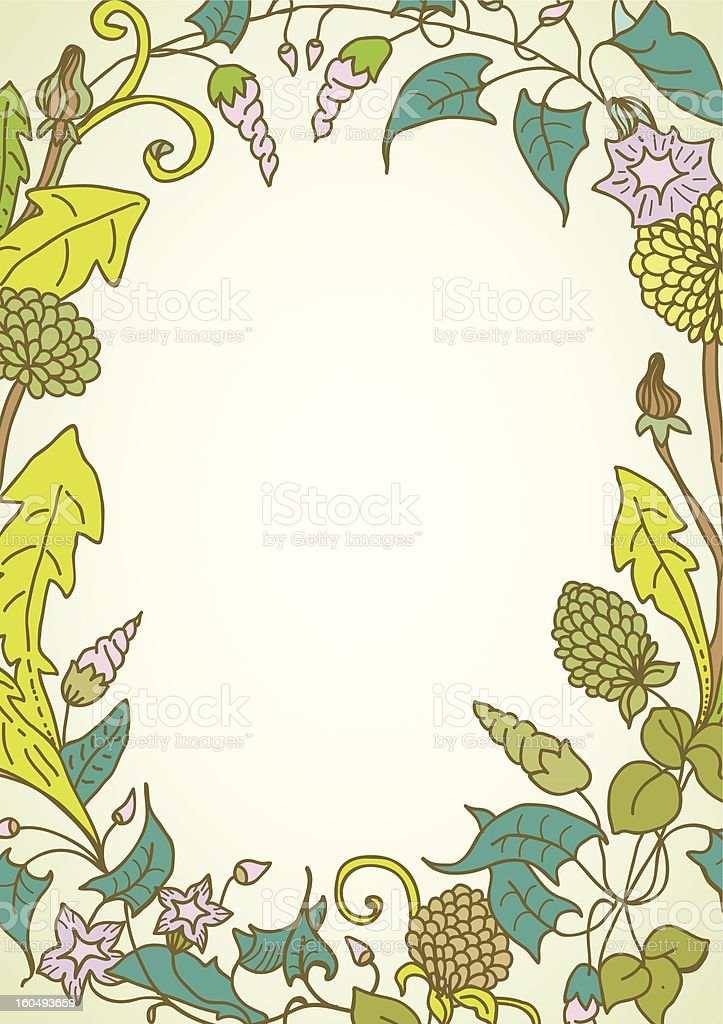 Background with wild flower wreath royalty-free stock vector art