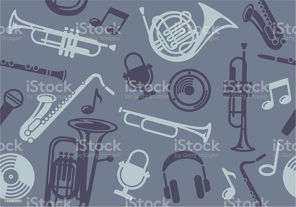 Background with wind musical instruments vector art illustration