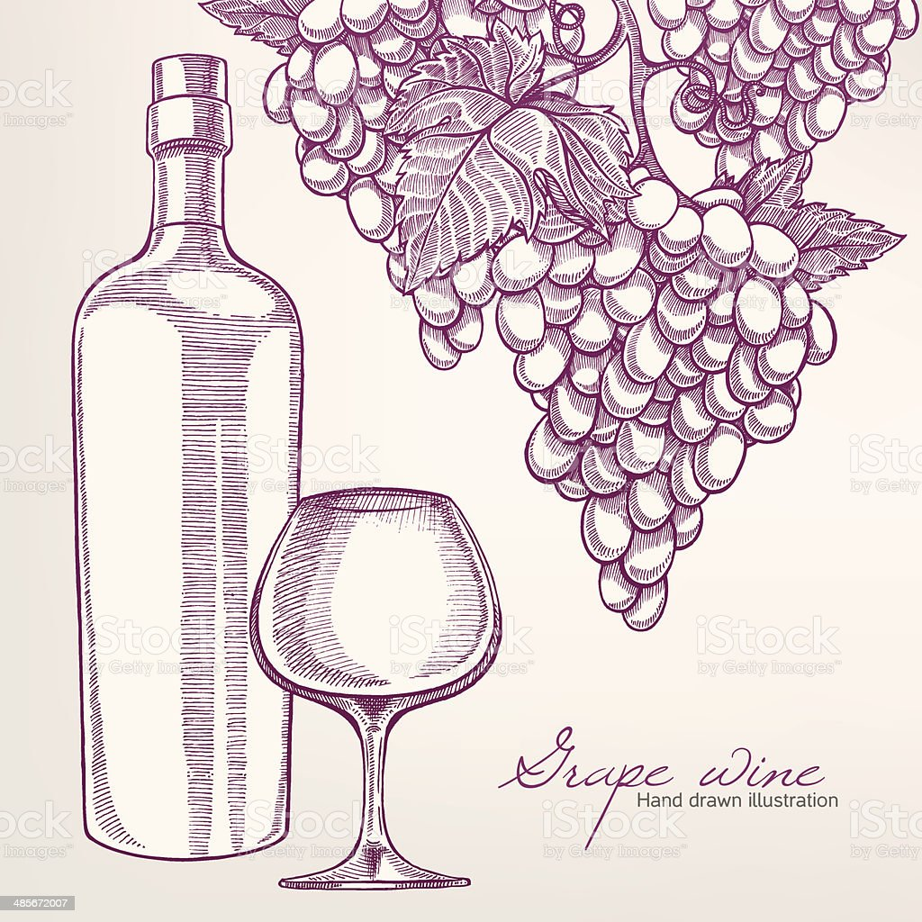 background with wine bottle and grapes royalty-free stock vector art