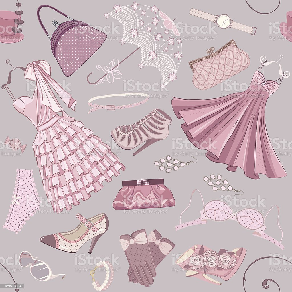 Background with women's clothing royalty-free stock vector art
