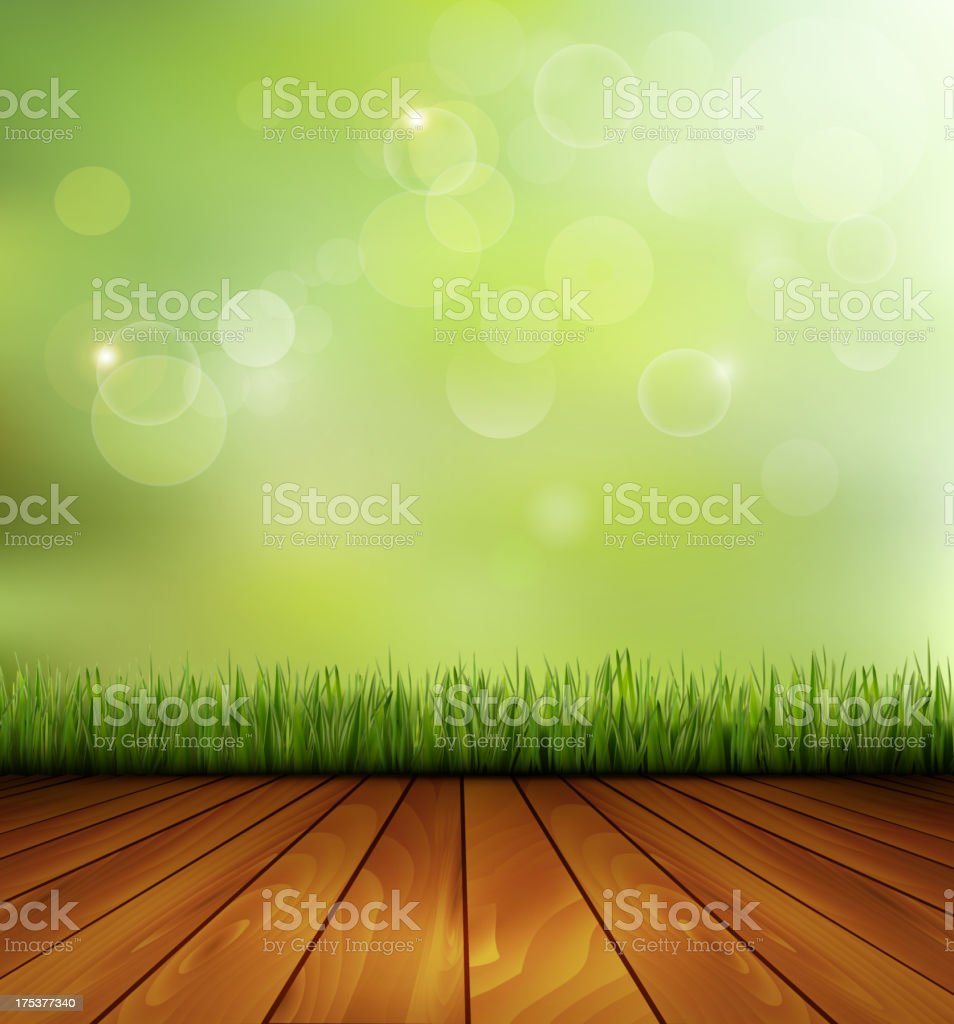 Background with wood and grass. royalty-free stock vector art