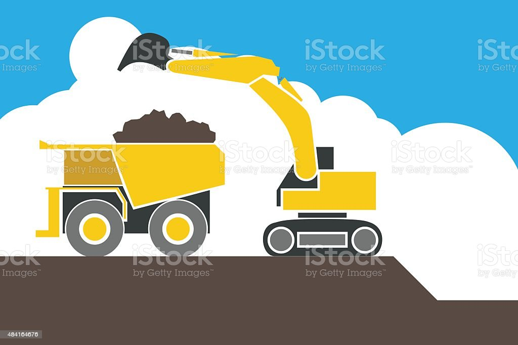 Backhoe loader excavator machine loading dumper truck, vector vector art illustration