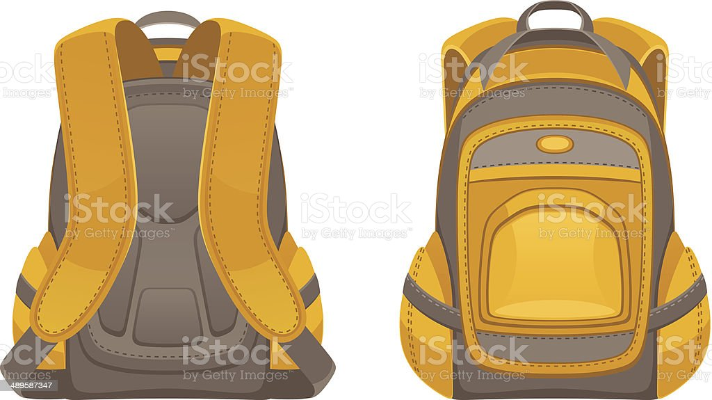Backpack front and rear view vector art illustration