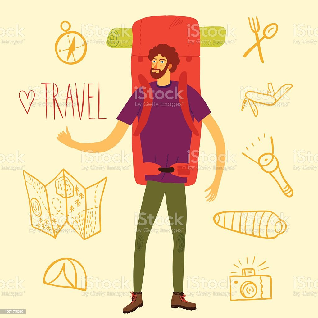 Backpacker illustration vector art illustration