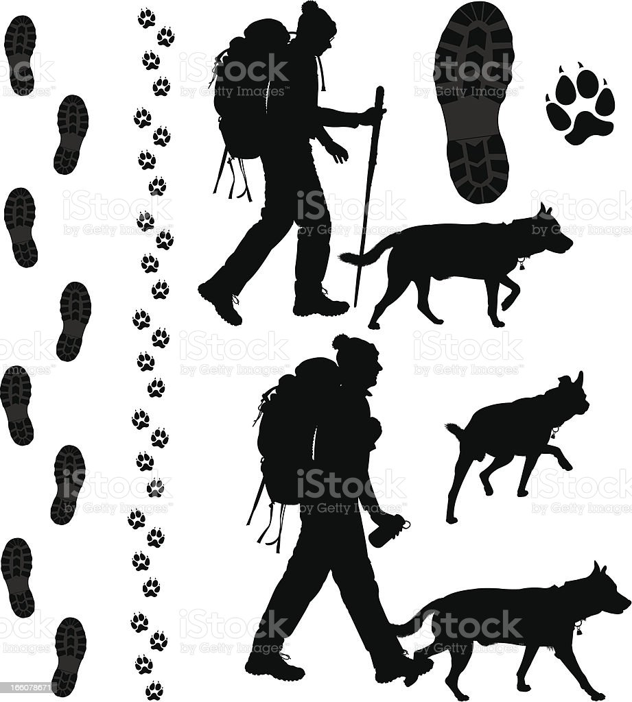 Backpacking Hiker and His Dog with Footprints, Tracks royalty-free stock vector art