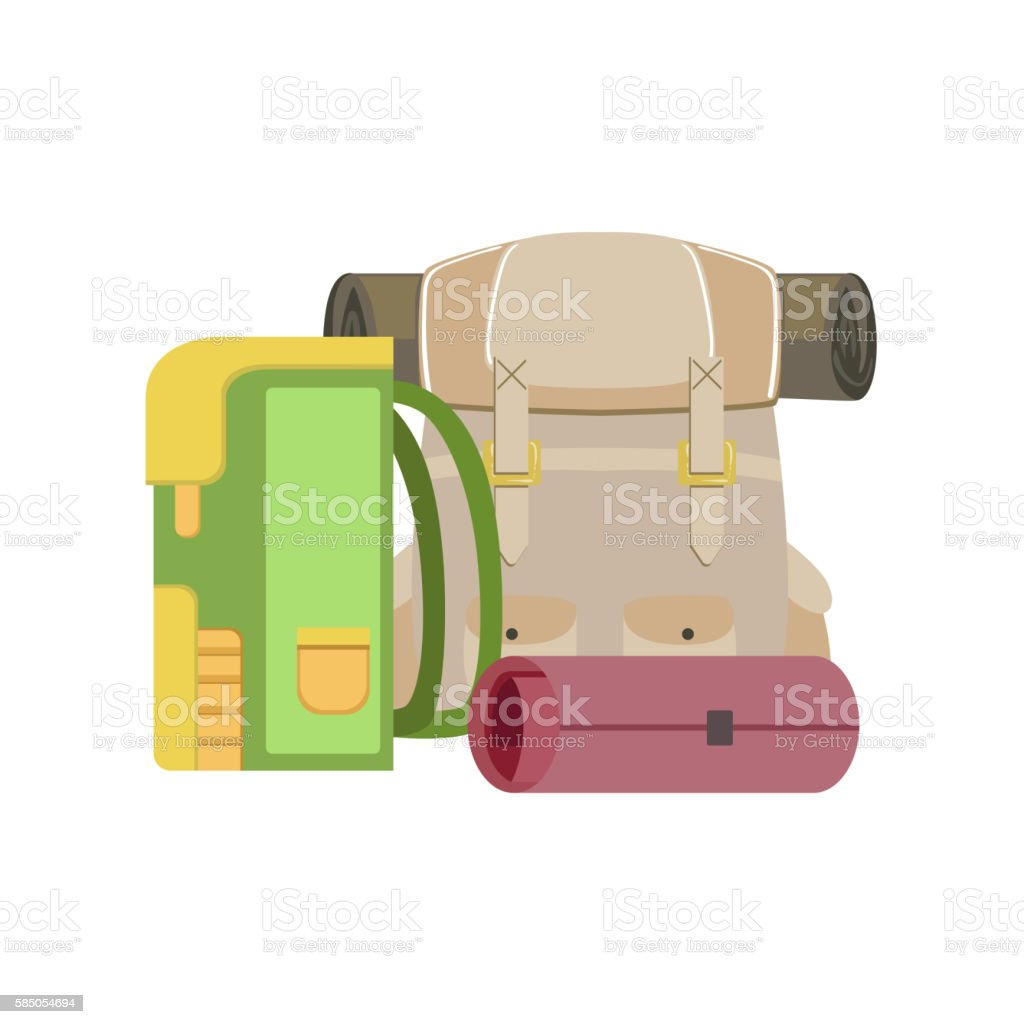 Backpacks And Rolled Camping Matrass vector art illustration
