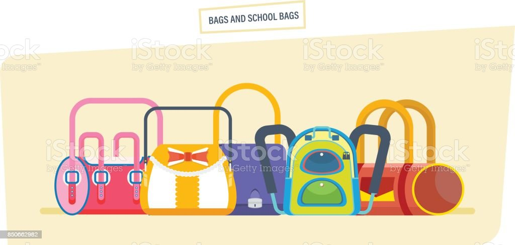 Backpacks and school bags concept. Student satchels collection vector art illustration