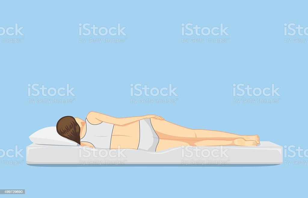 Backside of sleeping on the side position vector art illustration