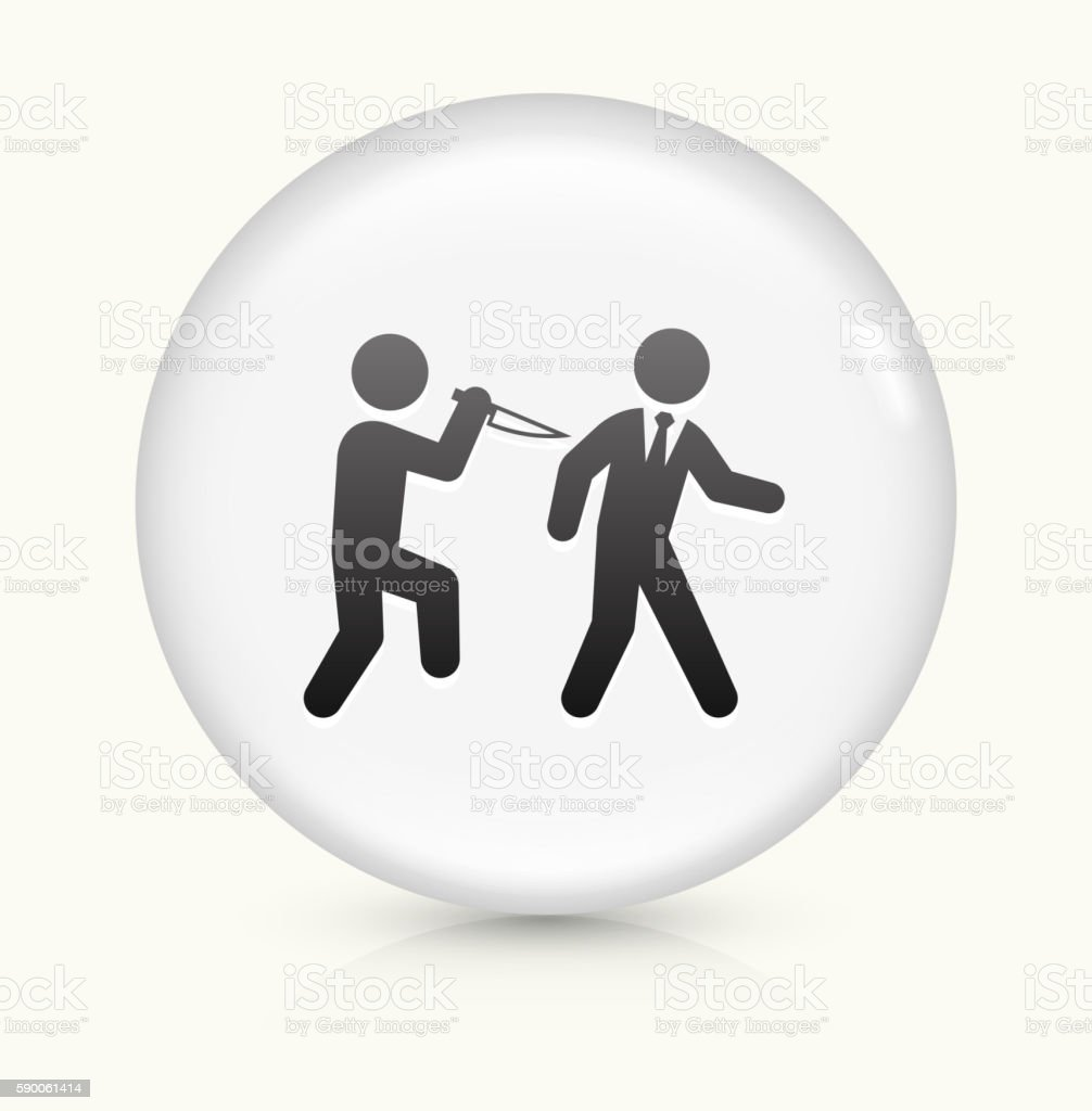 Backstabbing icon on white round vector button vector art illustration
