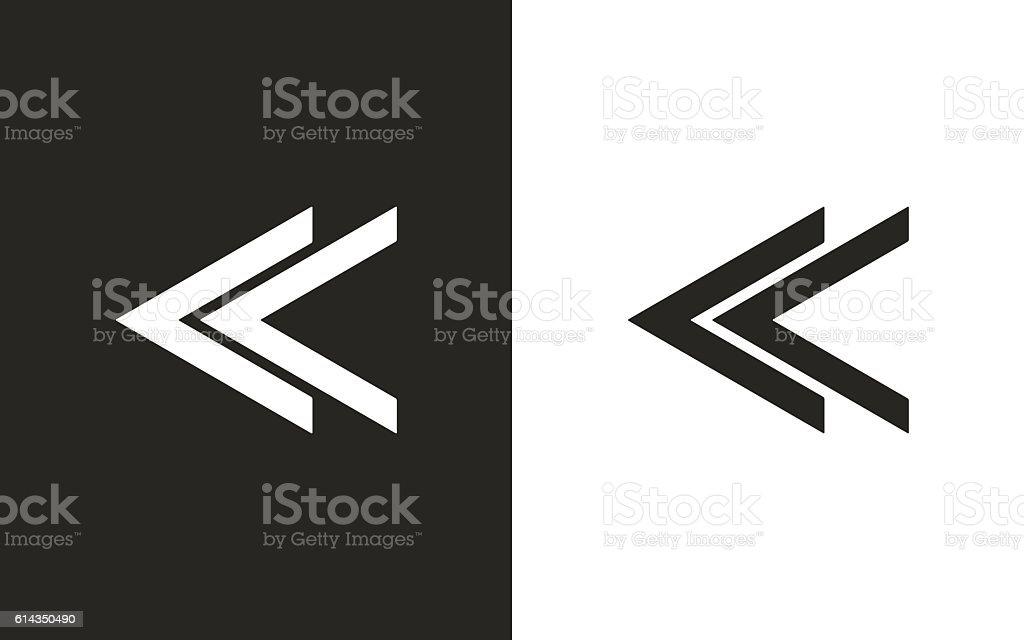 Backward- vector icon. vector art illustration