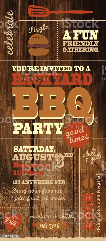 Backyard BBQ themed invitation template on rustic wooden background vector art illustration
