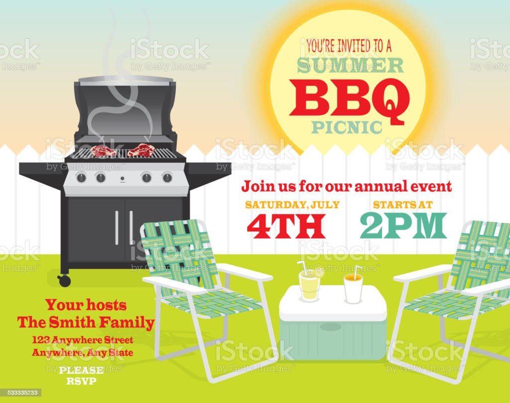 Backyard BBQ themed invitation template picket fence vector art illustration
