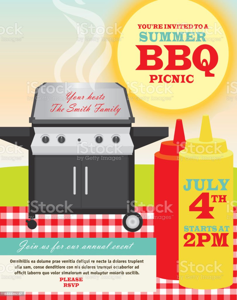 Backyard BBQ themed invitation template vector art illustration
