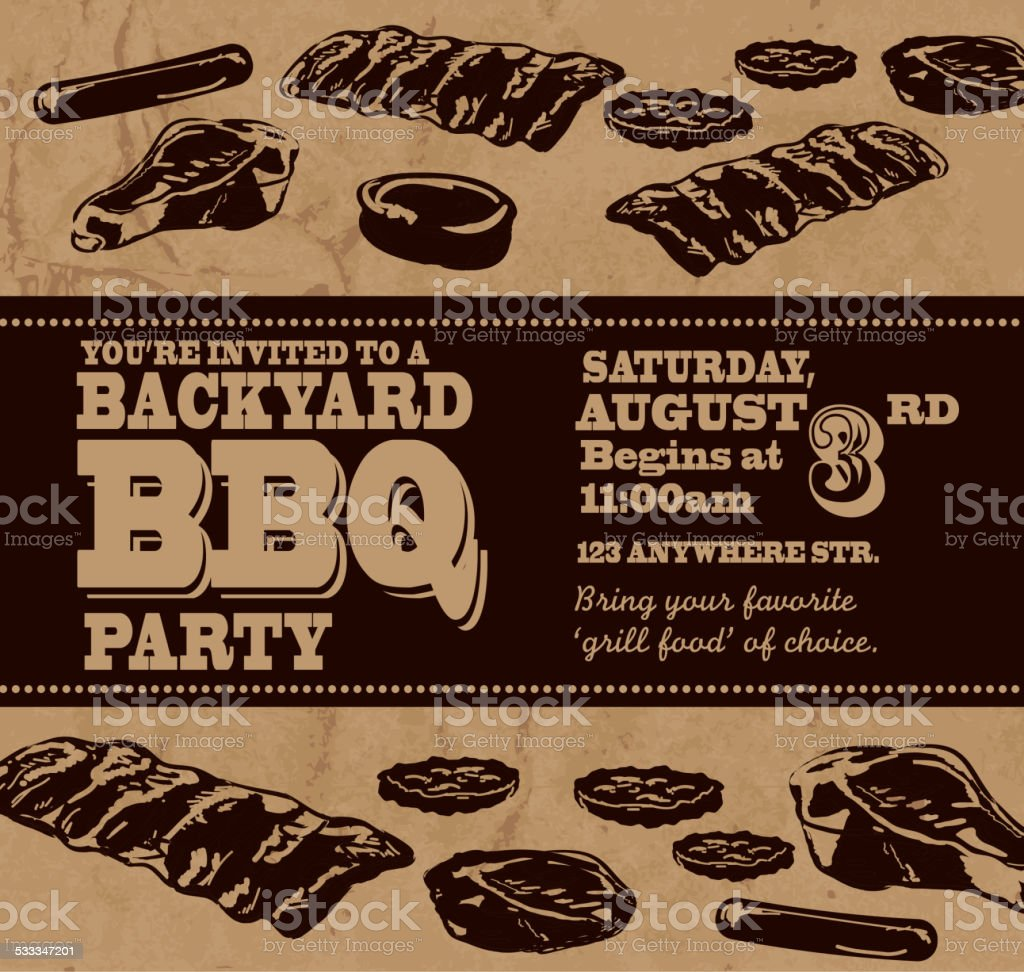 backyard bbq themed invitation template with black text stock